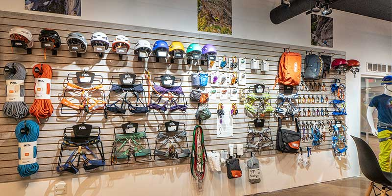 Petzl rope and harness displays